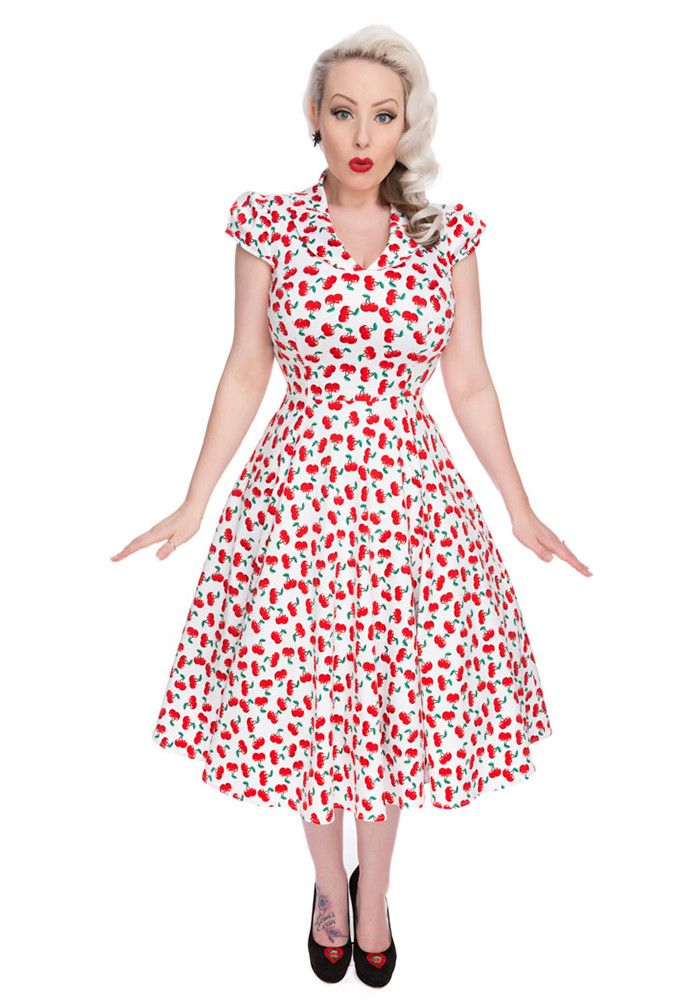 Hearts and Roses London - Hearts & Roses White Cherry Dress