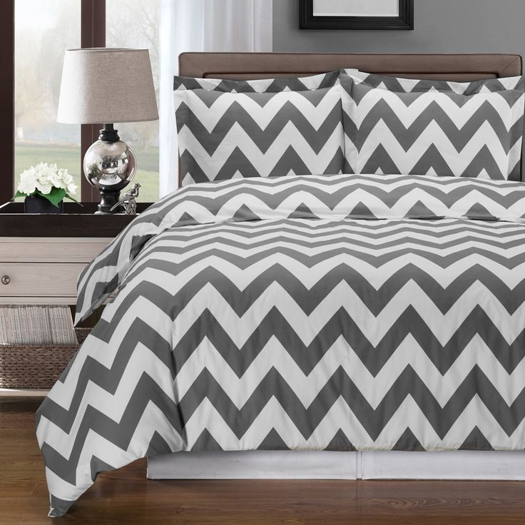 Grey and White Chevron Cotton Duvet Cover Set