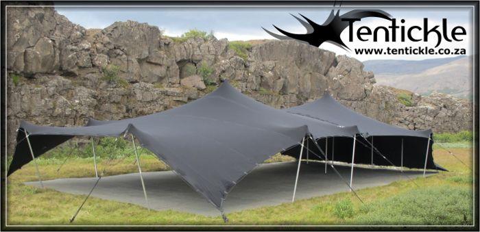 Black tent setup