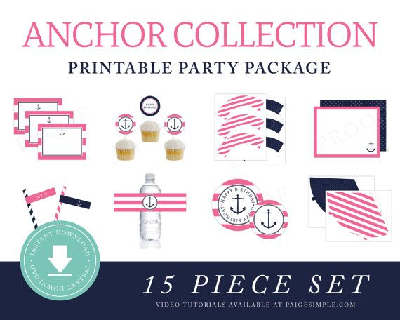 INSTANT DOWNLOAD Nautical Printable Party Package (Preppy Anchor Party, Girls Nautical Party Instant Download, Nautical Party Decorations)