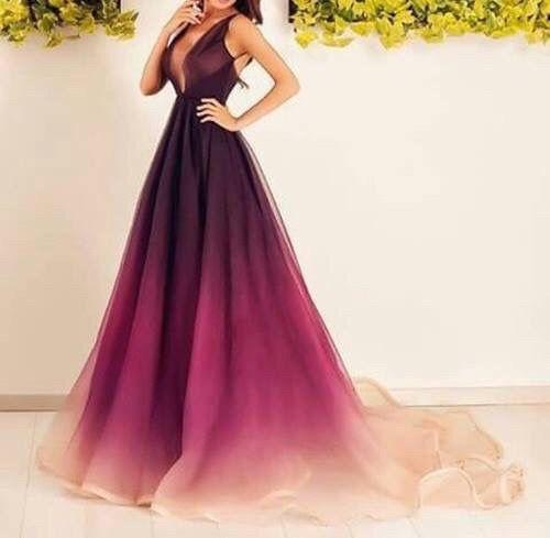 Ombré Burgundy halter style gown