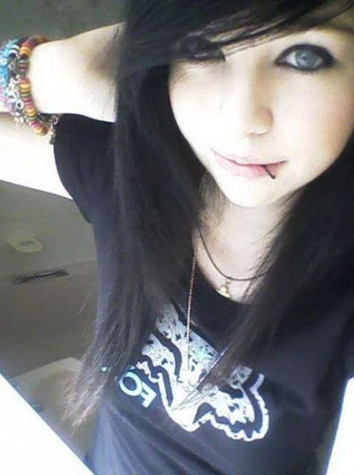cute scene emo goth girl smiling