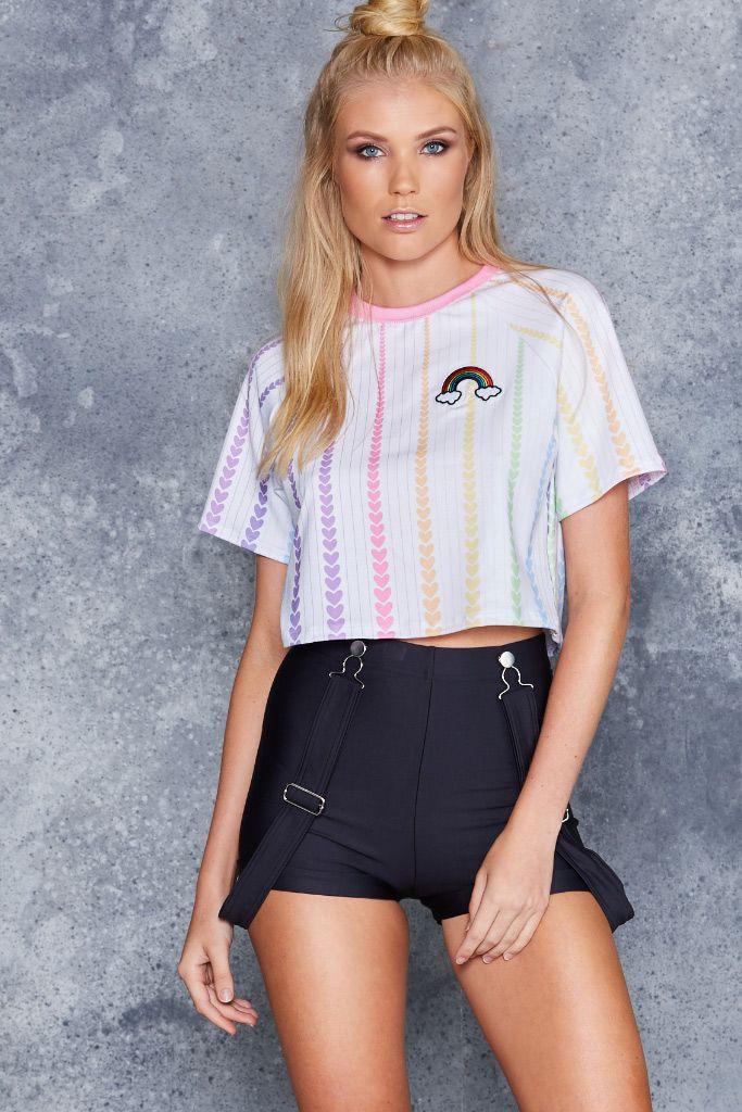 Rainbow Lover Raglan Crop - LIMITED ($60AUD) by BlackMilk Clothing