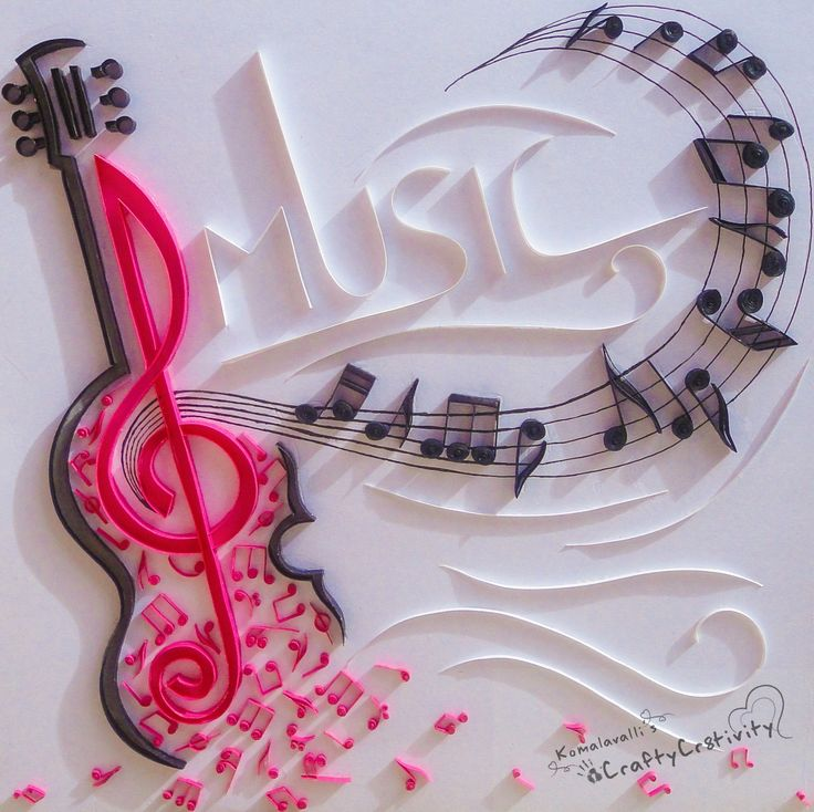 Music, quilled musical theme, musical notes, miniature quilled musical notes
