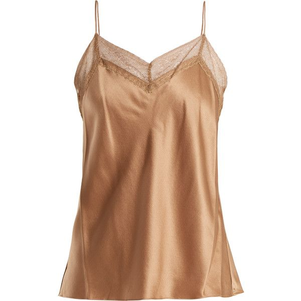 Vince Lace-trimmed V-neck silk cami top ($265) ❤ liked on Polyvore featuring tops, camel, v neck tank top, strappy tank top, lace trim cami, silk tank and v neck cami