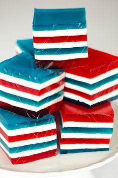 Red, White & Blue Layered Finger Jello, aka Jello Jigglers, aka Knox Blocks | browneyedbaker.com
