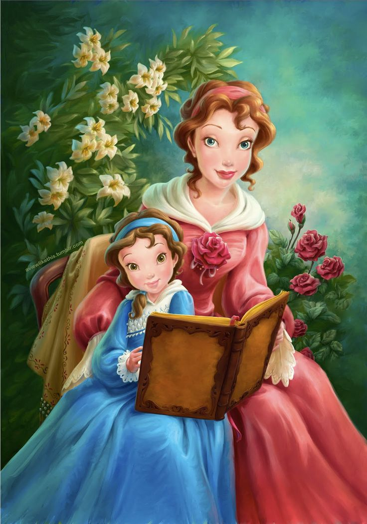 A portrait of young Belle and her Mother, created for Maurice's cottage as part of the New Fantasyland at the Magic Kingdom in Orlando, Florida.