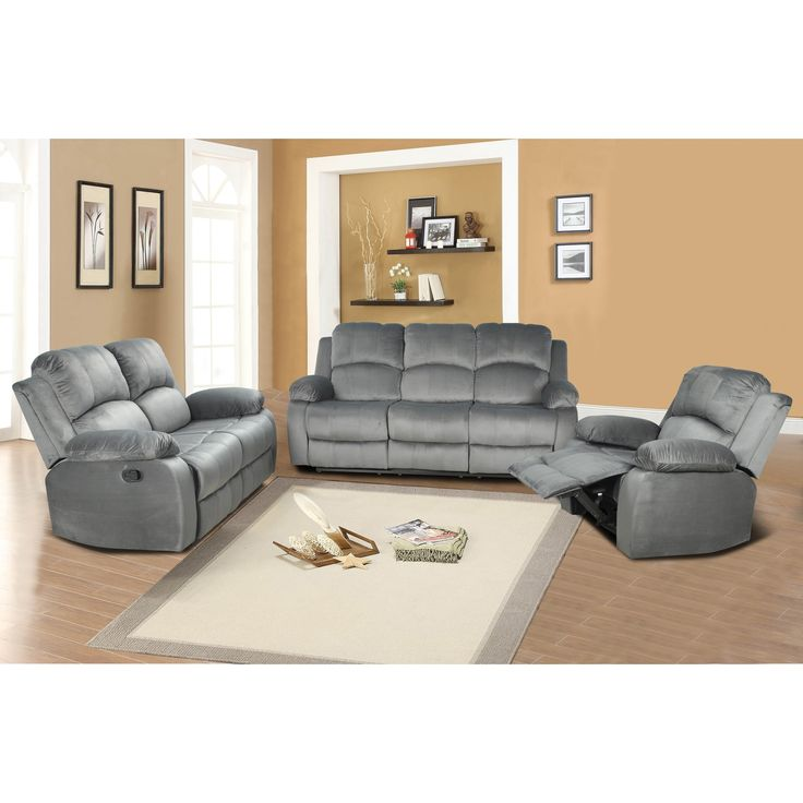 Odessa Light Grey Reclining Sofa Set (Light Grey)  sc 1 st  Pinterest : recliners sofa sets - islam-shia.org