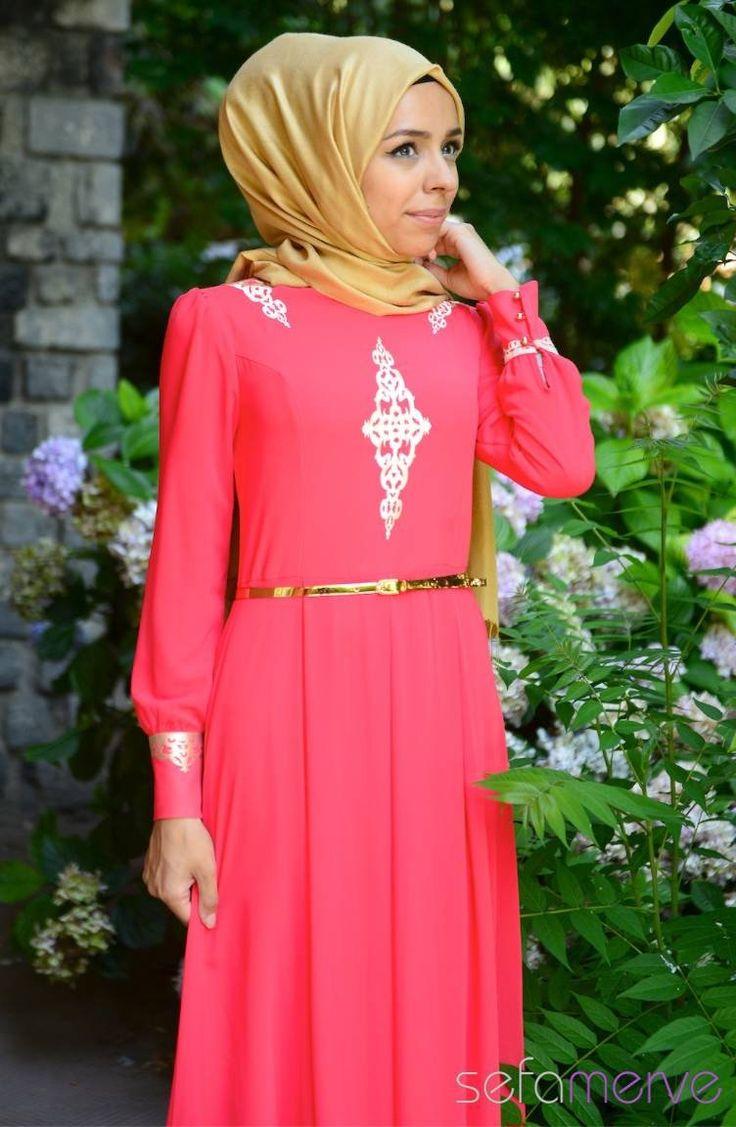 Tesettür Elbise FY 52051-04 Mercan