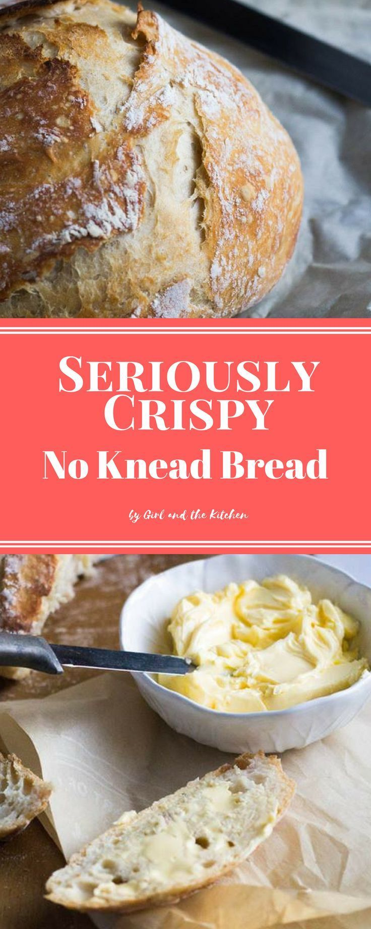 Forget getting out the mixer or thebread maker in order to achieve perfect homemade bread! This seriously crispy no knead bread requires no mixer, no dough hook nor any time to knead by hand! Magic happens quite simply with just a fewpantry ingredient