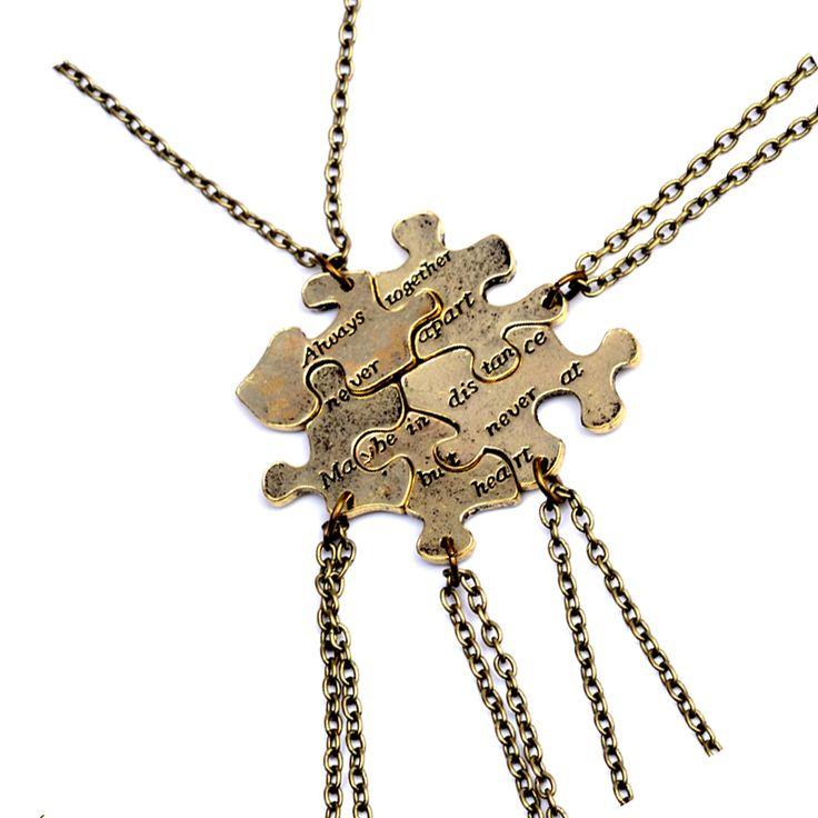 5 pcs/set Vintage Interlocking Jigsaw Puzzle BFF Necklaces Always together never apart Best Friends Necklace For 5 Friendship
