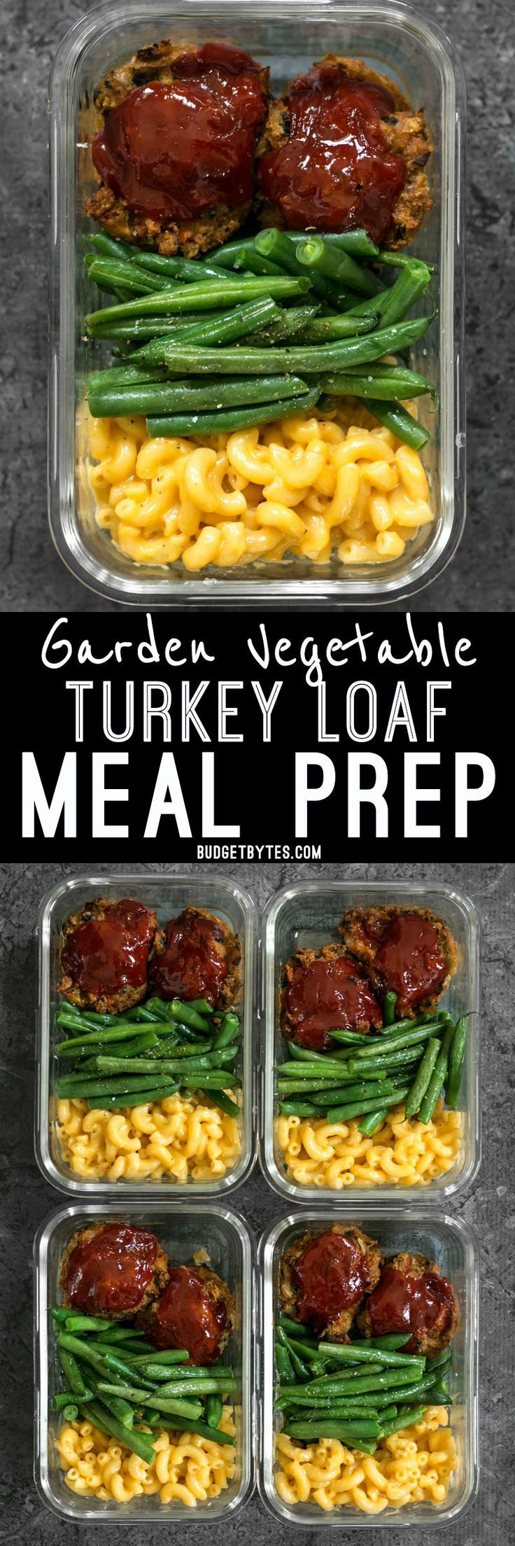 It's comfort food in a box! You'll look forward to eating this veggie-packed Garden Vegetable Turkey Loaf Meal Prep for lunch every day. @budgetbytes