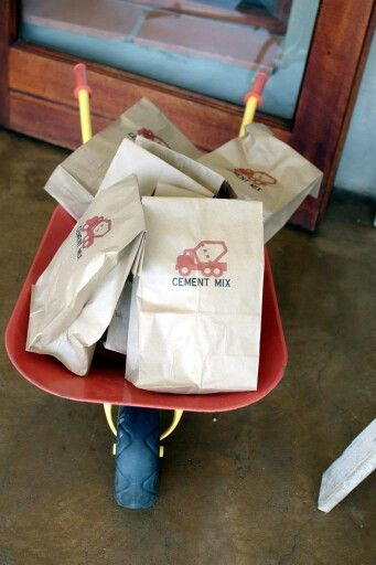 Paper bags had candy floss inside and we labelled them 'cement mix'