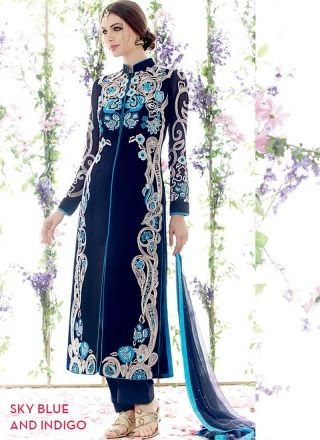 Royal Blue Pure Georgette Embroidery Work Pakistani Suit