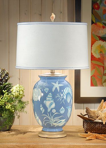 Classic coastal table lamp with seashell motif.