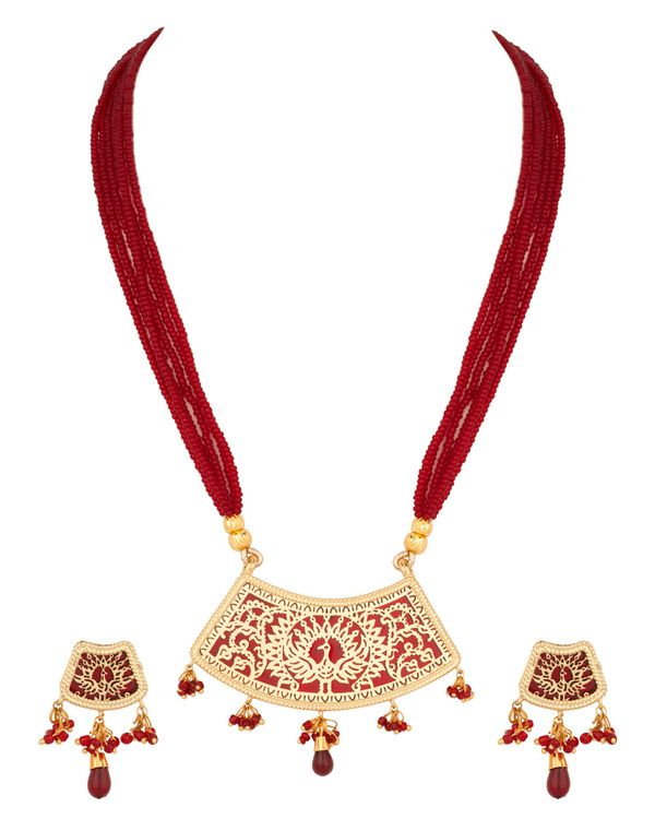 Attractive Thewa Art, Gold Plated Bead Necklace Set