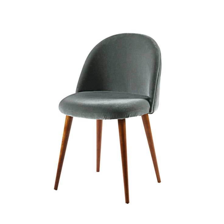 Anthracite velvet and solid birch chair Mauricette