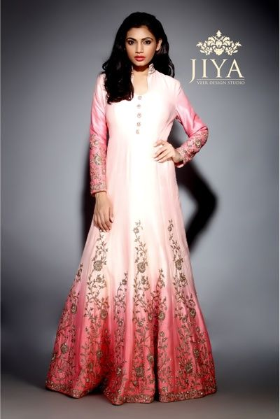 white and pink gown, floor length gown, ombre gown, zardosi work