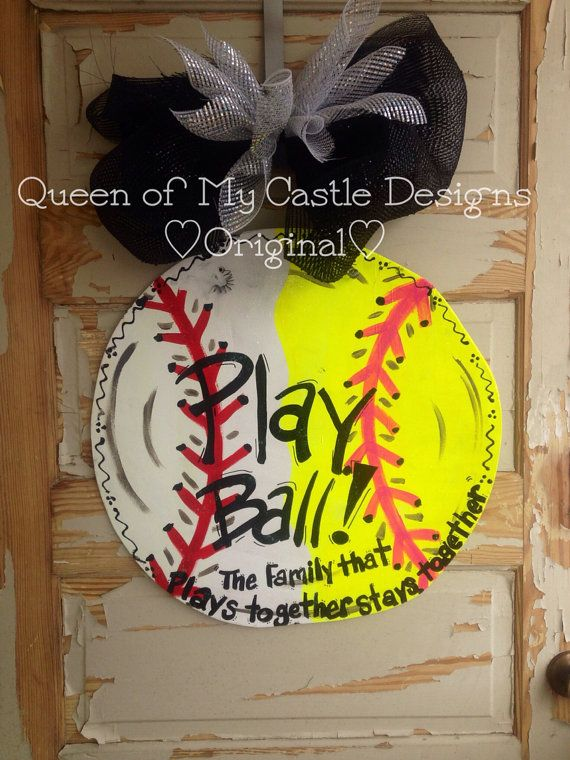 Baseball and Softball Combination Door Hanger by queensofcastles, $45.00