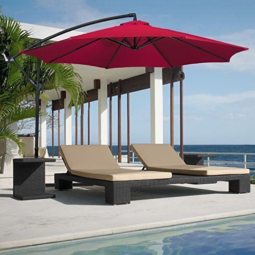 Outdoor Hanging Umbrella 10ft Patio Market Premium Sturdy Umbrella Burgundy NEW #Bc