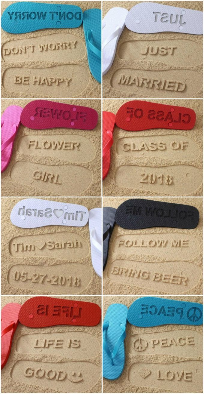 Custom made flip flops to make words in the sand - perfect for a beach wedding, honeymoon, spring break or family reunion