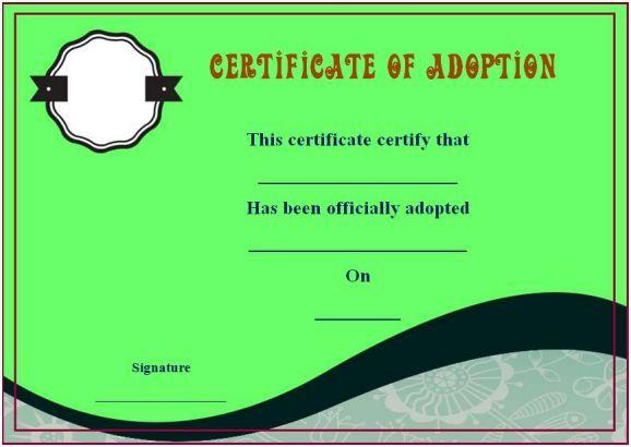 Blank Adoption Certificate Templates Blank Adoption Certificate