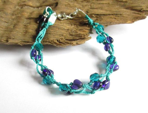 Teal and Purple Bracelet  Stacking Bracelet  Summer by PinkBeading, £12.00