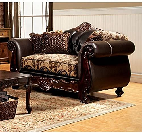 New Furniture of America Mora Fabric and Leather Loveseat in Espresso Living Room Furniture. [$1129.98] nicetopnice Fashion is a popular style