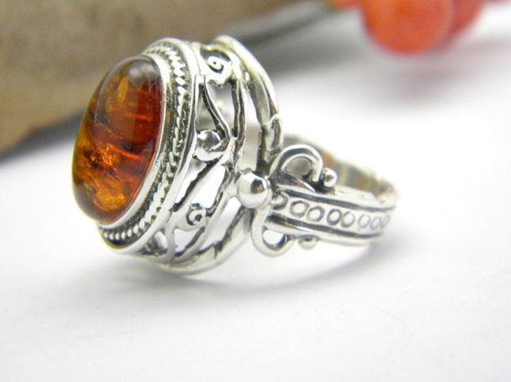 Statement ring amber stone  Ornate Filigree  by nikiforosnelly, $75.00