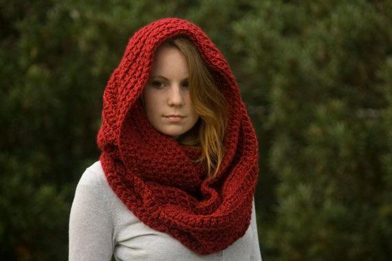 PATTERN Oversized Hooded Infinity Scarf Cowl, Crochet