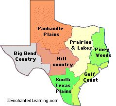 outline map, natural features of Texas