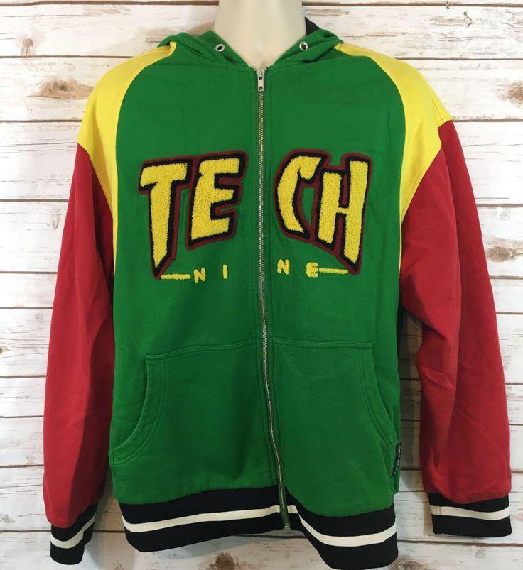 TechNine Rasta Hooded Jacket Size Large Snowboard True Game Hoodie Tech Nine #Technine