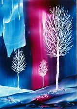 ORIGINAL ACEO encaustic art (bees' wax) FANTASY LANDSCAPE painting WHITE TREES