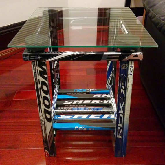 Table de bout de bâton de hockey par HockeyStickBuilds sur Etsy