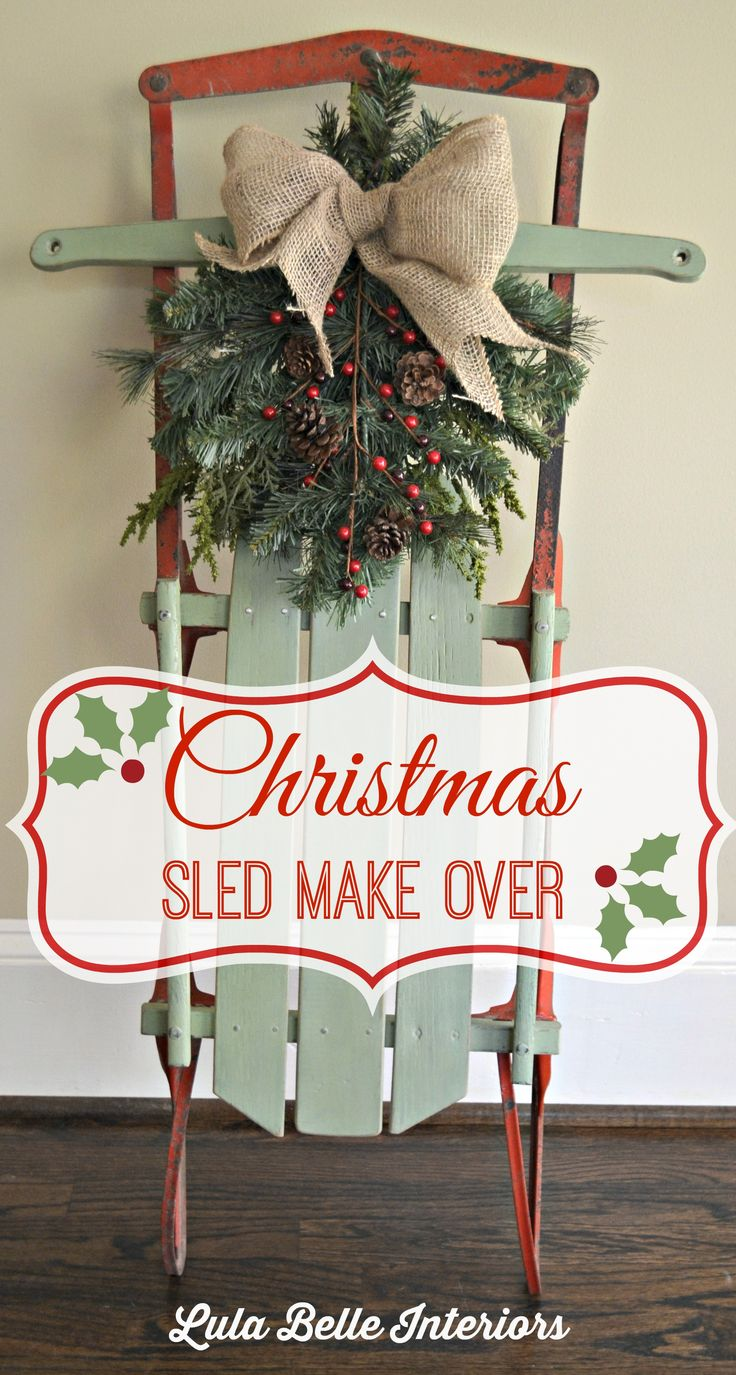 My childhood sled is always on the front porch with a swag of fresh greenery! :)