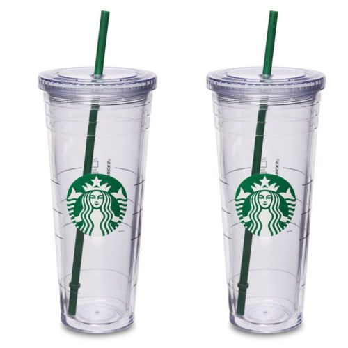 2x-Taza-de-Starbucks-reutilizable-FR-O-Venti-cafe-claro-sirena-logotipo-Vaso-2-de-paja