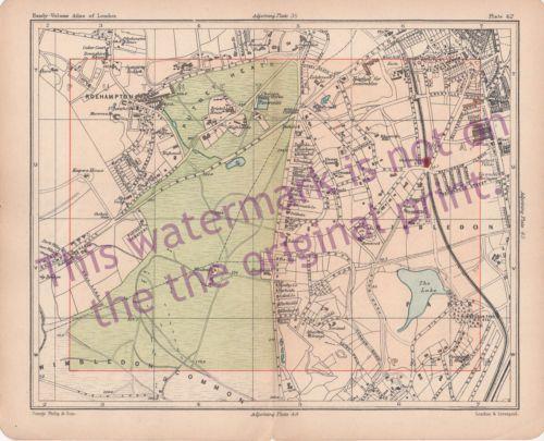 Old-1902-London-Map-Wimbledon-Common-Park-Putney-Heath-Roehampton-Bacon-Philips