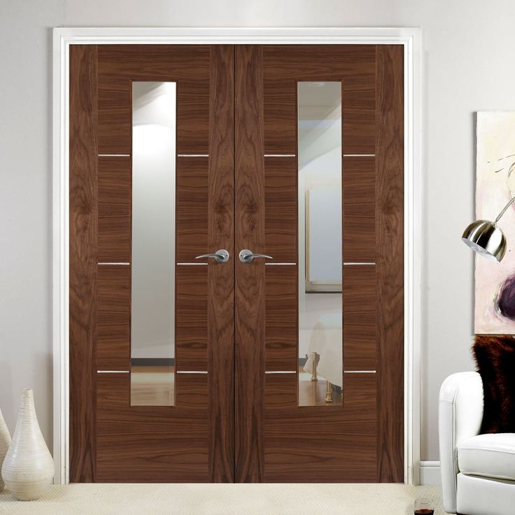 Verde nova walnut 1 light veneer door pair with clear safety glass, all pre-finished and 30 minute fire rated for your safety. #glazeddoorpair #firedoor #internalfiredoors
