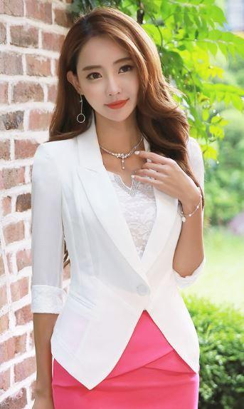 StyleOnme_Single Button Lace Trim Roll-Up Sleeve Blazer Jacket #summer #white #blazer #lace #feminine #formal #elegant #koreanfashion #kstyle #pretty #korean #model