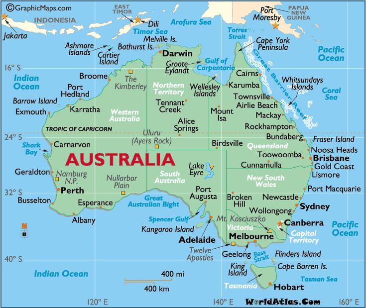 Australia large color map