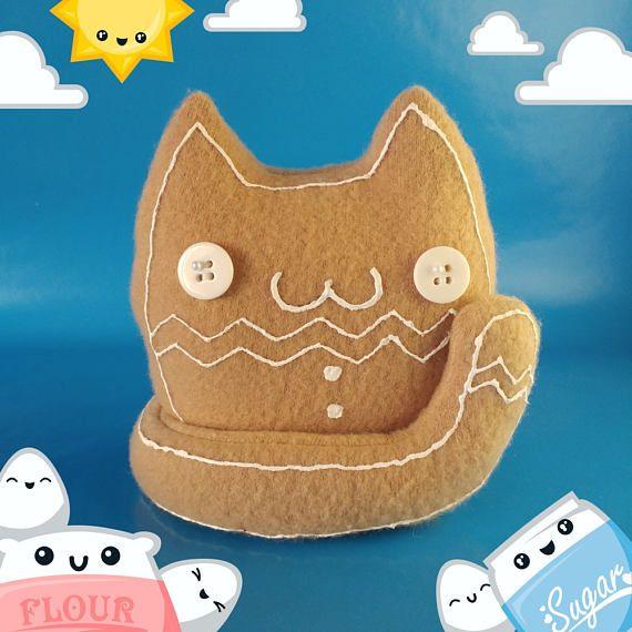 Kawaii Gingerbread Cat Plush Cute Cat Plushie Gingerbread