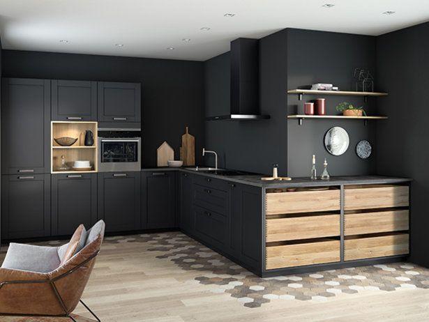 Cuisine Moderne Et Design Ouverte Noire Mat Ambiance Comptoir Mobalpa Cuisine Moderne Petit Stockage De Cuisine Decoration Maison