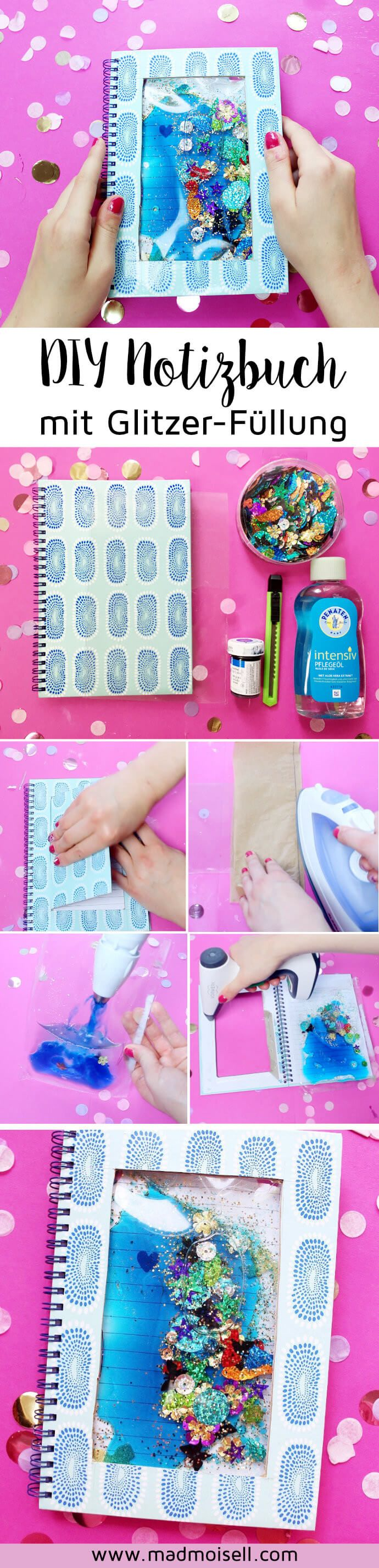 DIY Notizbuch mit flüssiger Glitzer-Füllung selber machen Tolle DIY Bastel-Idee im Tumblr Stil für Uni oder Schule.