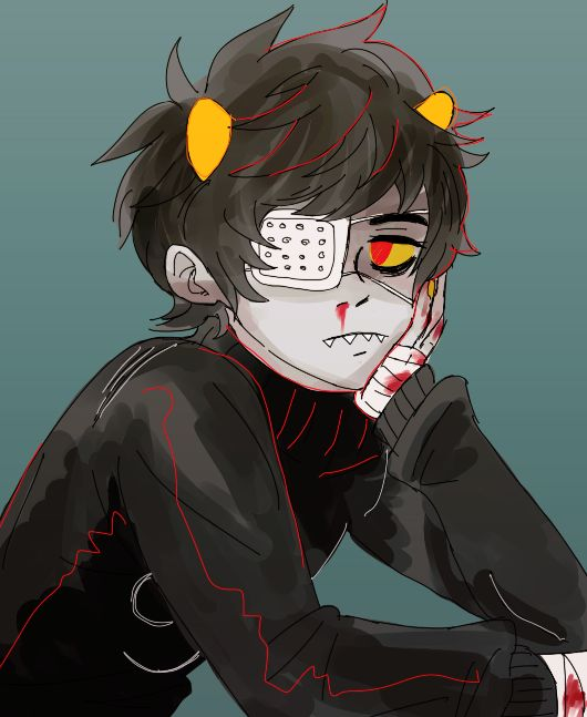 Terezi:*L1CK* Karkat: TEREZI STOP Terezi:*W1P3* Karkat:NO I JUST WANT TO BE ALONE Terezi:*K1SS*. . . . SORRY 1LL JUST GO :'[ Karkat: *GRABS HER HAND* I'M SORRY YOU CAN STAY *KISS BACK*