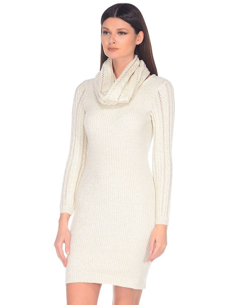 WD-27115 платье со снудом, цвет бежевый.  knit msls dress