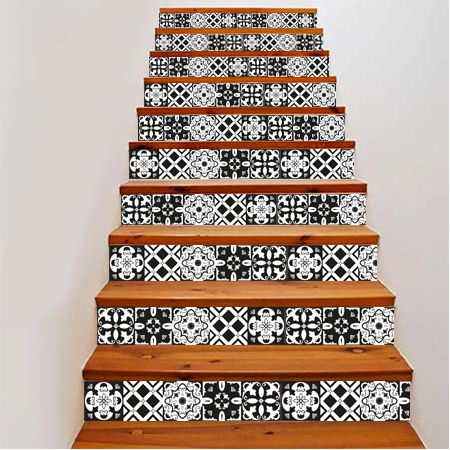 Best 25 stickers escalier ideas on pinterest vinyle - Carreaux de ciment noir et blanc ...