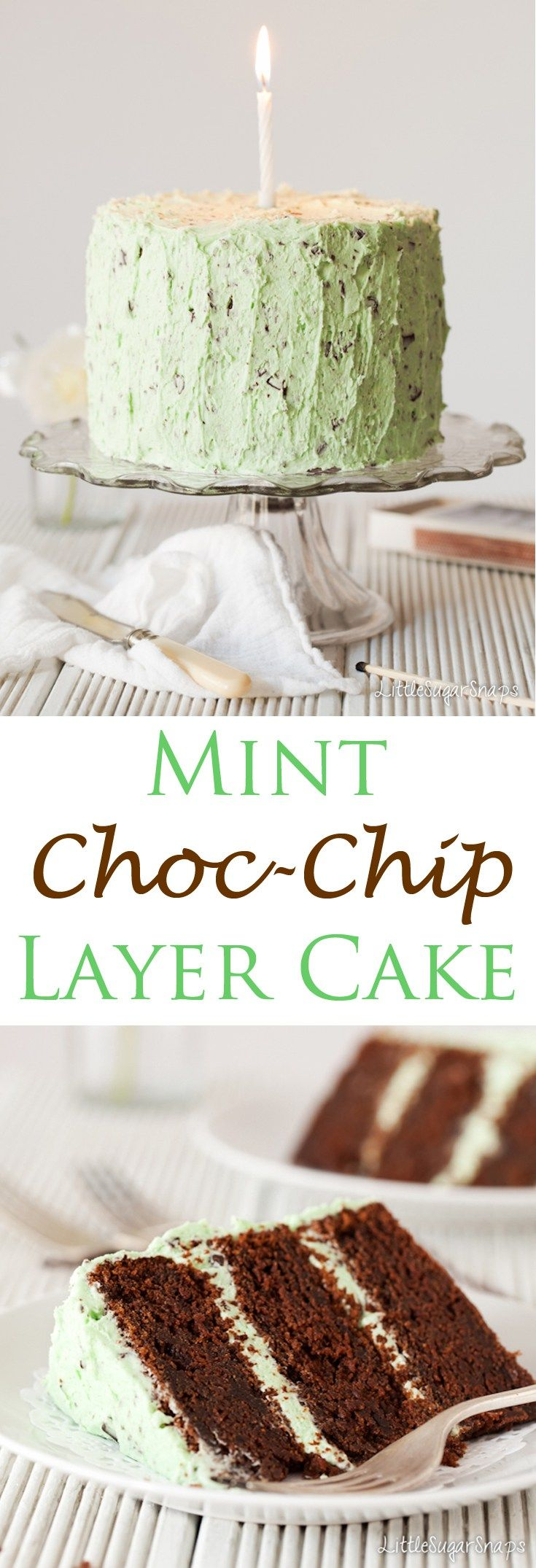 Mint Choc Chip Cake: dark & fudgy layers of chocolate cake hidden beneath minty, green, chocolate flecked buttercream. Think of Mint Choc Chip ice cream turned into a layer cake. class=