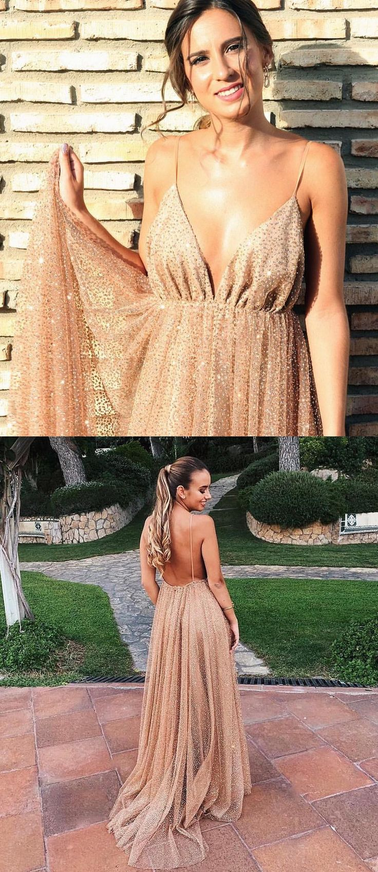 Sparkly Straps Sequins Gold Long Prom Dress from modsele