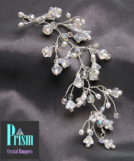 Bell Flower and Freshwater Pearl Hair Vine by PrismBouquets, $18.00