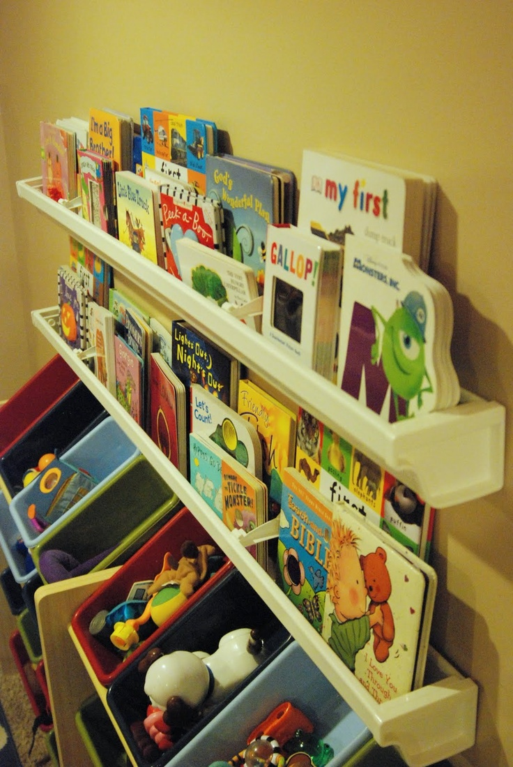 These kids' bookshelves are made from inexpensive plastic *gutters.* Genius!